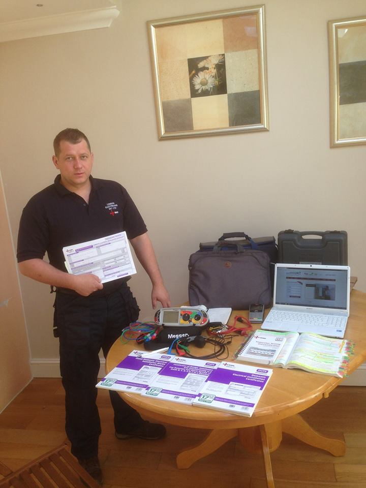 Electrician with his accreditations